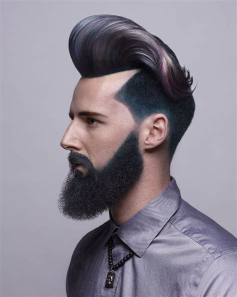 pompadour hairstyle with beard mens pompadour haircut and hair color with colored beard
