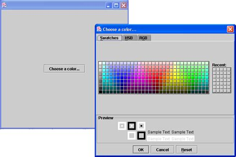 colors in java swing java swing color chooser 颜色选择面板 demo 六 www laoj888 cn