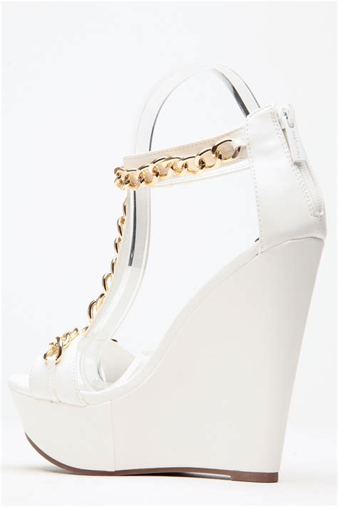 Wedges Simple Fladeo M 2 gold chain white wedges cicihot wedges shoes store wedge