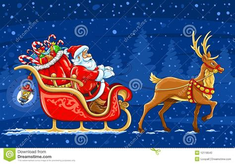 santa claus moving on the sledge with reindeer stock