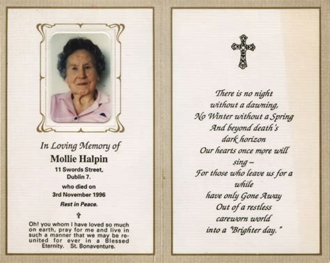 Funeral Memorial Prayer Cards Template by Free Printable Funeral Prayer Card Template Memorial Cards
