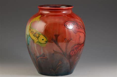 Vase Fish by Moorcroft Large Flambe Fish Vase 1930