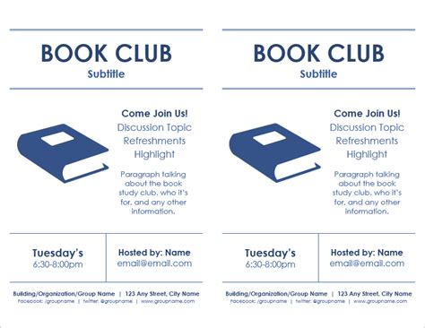 Book Club Flyer Template Word meeting flyer templates for word