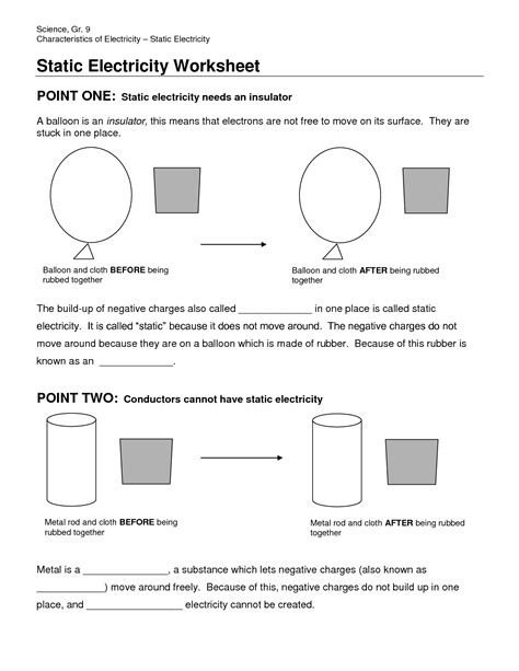 Static Electricity Worksheets For by Static Electricity Worksheet Fioradesignstudio