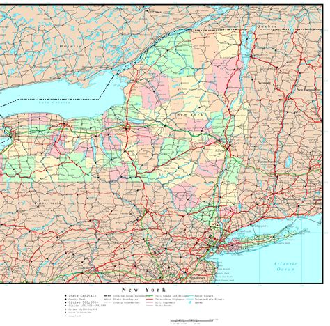 map of new york map of new york state with major cities