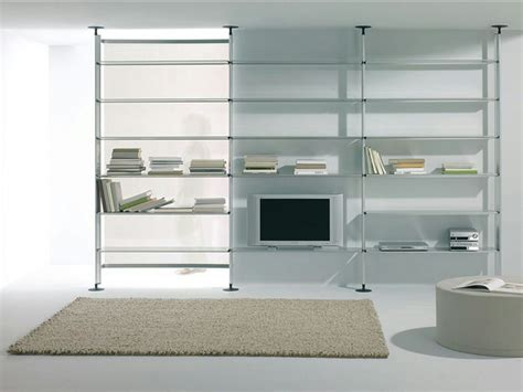 floor ceiling mounted glass and aluminium shelving unit