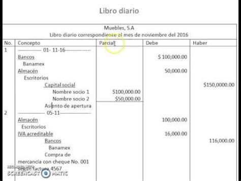 ejemplo libro diario contabilidad caracteristicas del libro diario proceso contable youtube