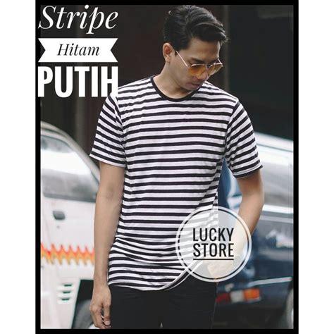 Kaos Polos Stripe kaos stripe hitam putih black white kaos polos