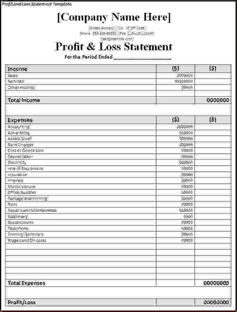 free profit and loss statement for self employed inspiration