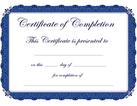 certificate of completion template free printable certificate templates
