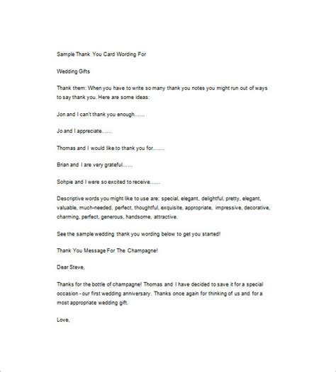 Thank You Letter Verbiage 6 wedding thank you notes free sle exle format