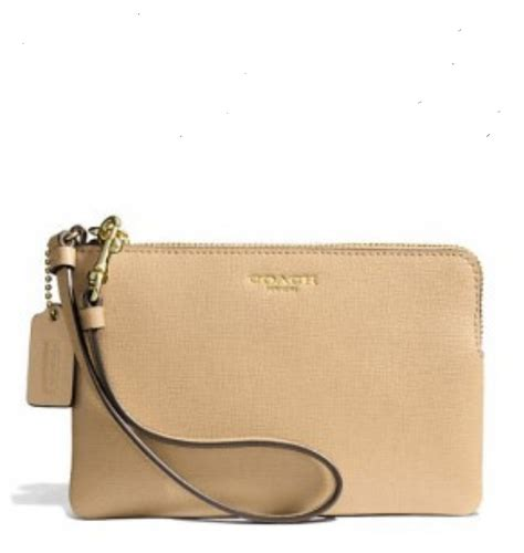 Small Wristlet luxurycometrue coach small wristlet in saffiano leather tan51197b rm 250