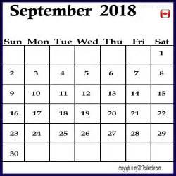 Calendar 2018 March Canada September Calendar 2018 Canada Printable