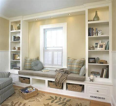 built in window seat window seat and built in book shelves house decorators