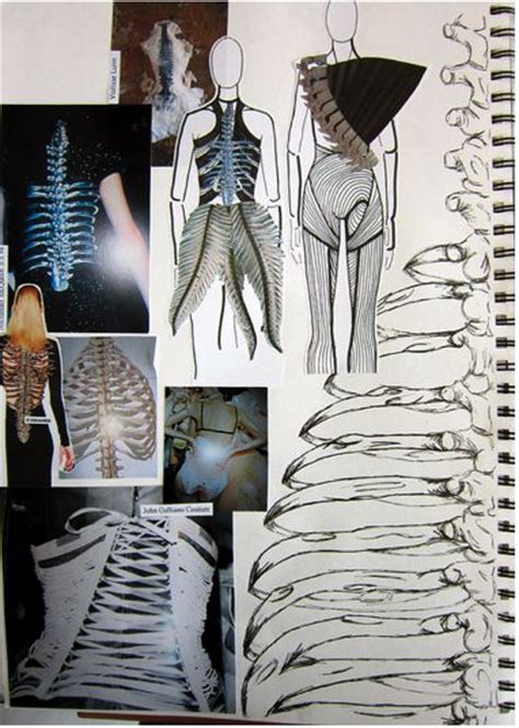 fashion design inspiration ideas fashion sketchbook with skeletal theme interpretive