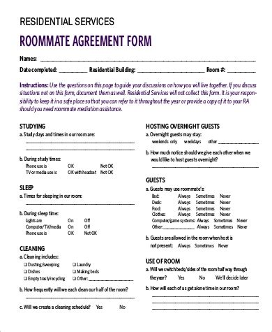 9 Sle Roommate Agreement Forms Sle Templates Roommate Agreement Template