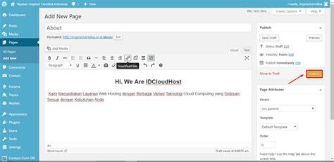 cara membuat kolom halaman di word cara membuat page halaman di wordpress idcloudhost