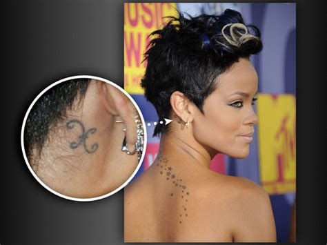 tattoo behind rihanna s ear rihanna tattos rihanna tattoos breezy on her neck