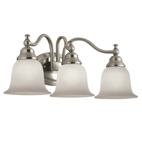 portfolio bathroom light fixtures shop portfolio brandy chase 3 light 9 45 in brushed nickel