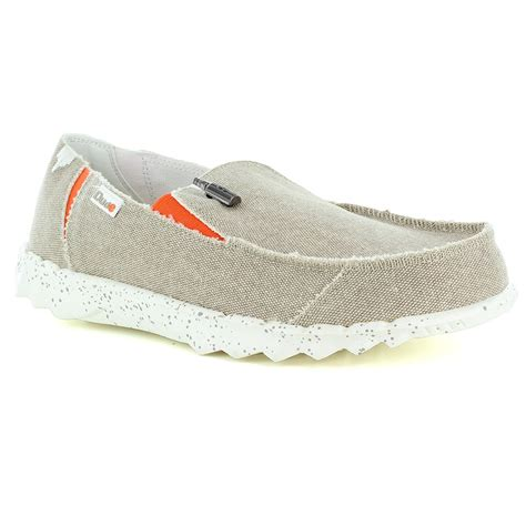 hey dude farty funk mens casual canvas slip on shoes in beige