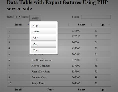 php date format n j y how to export the jquery datatable data to pdf excel csv