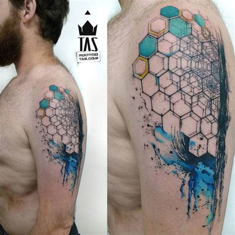 hexagon arm tattoo