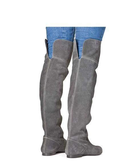 vienty knee flat suede boots in grey designer