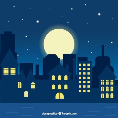Painting Ideas For Kids Bedrooms Night City Illustration Premium Vector Graphics