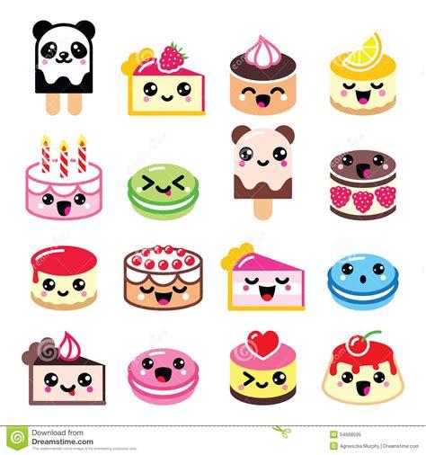 imagenes de iconos kawaii postre lindo de kawaii torta macarrones iconos del