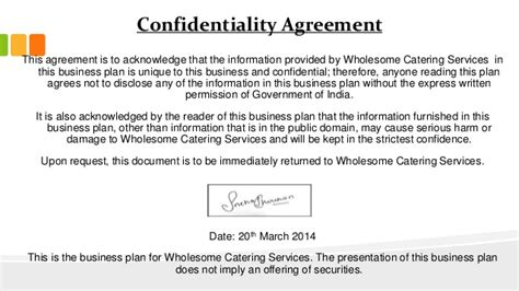 statement of confidentiality of report business plan sle a business plan on catering services wholesome catering