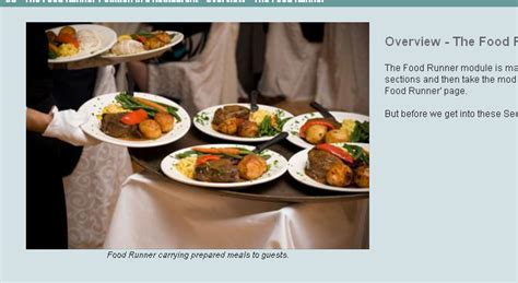the food runner position in a restaurant course
