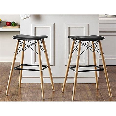 Retro Leather Bar Stools by Buy Walker Edison Retro Faux Leather Bar Stool In Black
