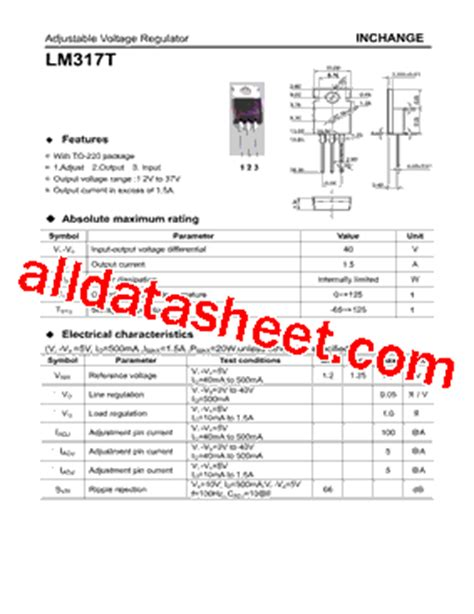 lm317t datasheet pdf inchange semiconductor company limited