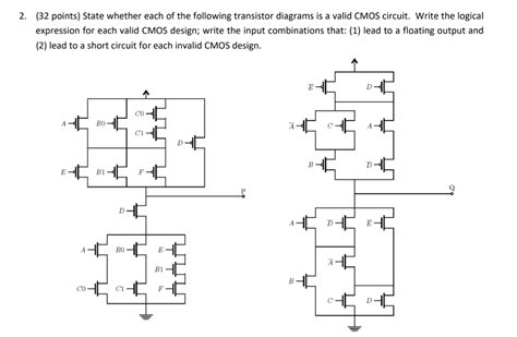 cmos circuit layout design and testing solved 32 points state whether each of the following tr