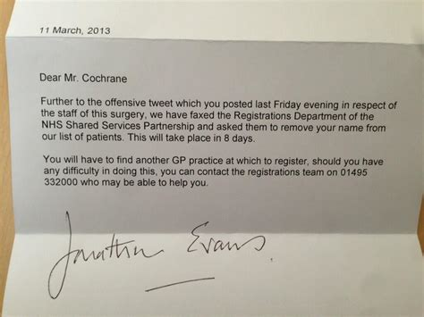 Patient Discharge From Hospital Letter Gp Staff Remove Patient From Books Because He Tweeted