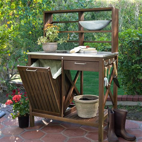outdoor potters bench belham living winfield acacia wood potting bench potting benches at hayneedle