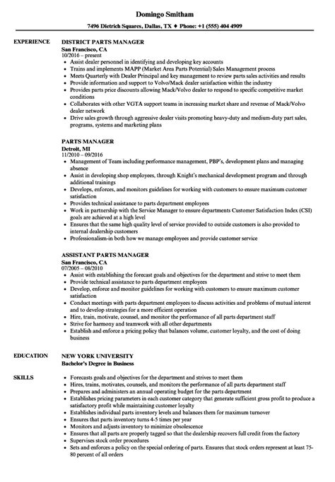 Parts Manager Resume by Spare Parts Manager Resume Exles Photos Resume Ideas Www Namanasa
