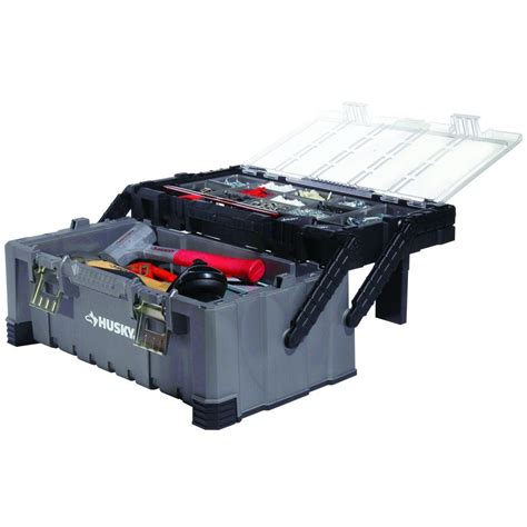 husky tool box 22 in cantilever toolbox 50 lb capacity