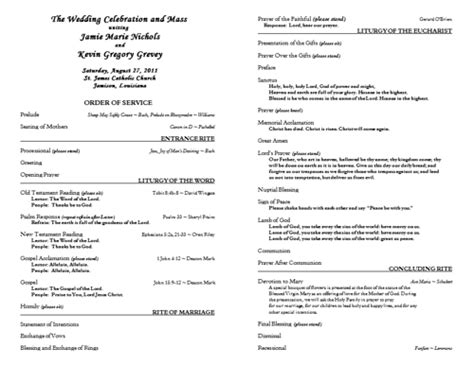 catholic wedding program templates free best photos of church wedding program templates free