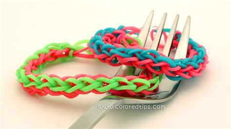 how to make a 4 braided rainbow loom bracelet on a fork