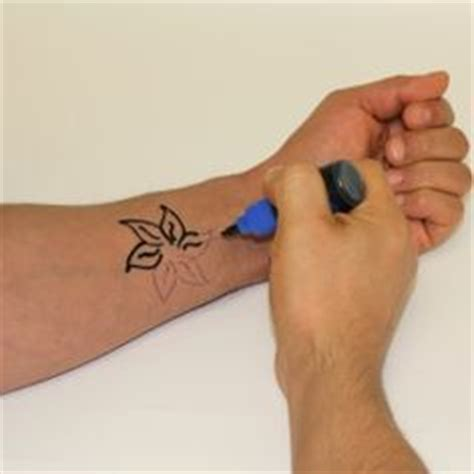 temporary tattoo pen and stencil kit transfer printed design to skin for stenciling without