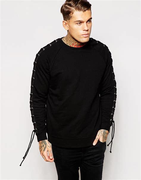 Sleeve Lace Up Sweatshirt lyst asos oversized sweatshirt with lace up sleeve in