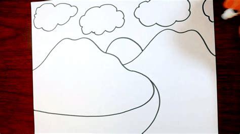 tutorial menggambar gunung cara menggambar gunung untuk anak sangat mudah