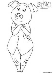 Sing colouring page pig rosita coloring pages free printable