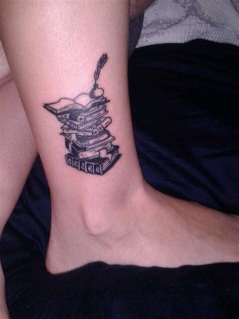 stack of books tattoo my a stack of books on my ankle