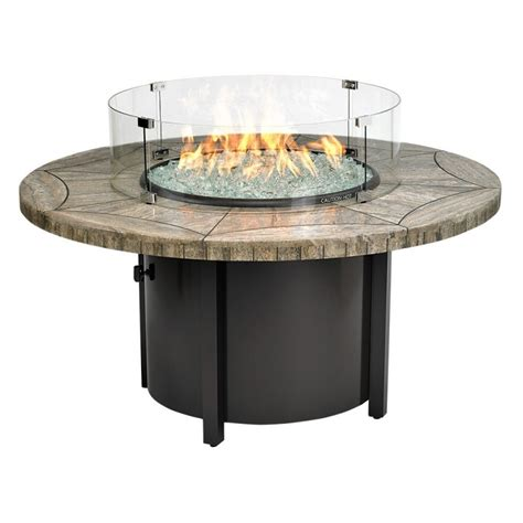 Carmel Round Fire Pit Gray Travertine Mosaic Top