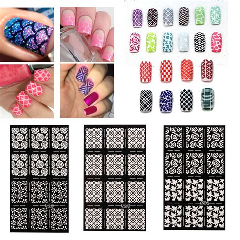 Nail Vinyl Stencil Sticker Stiker Nail Chevron Water Marble nail stencils vinyl hollow stickers decal manicure tips st template decoration alex nld