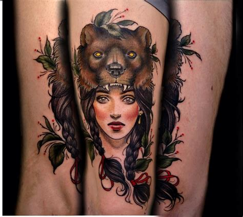 tattoo girl animal head i am in love with my new tattoo beautiful bearskin girl