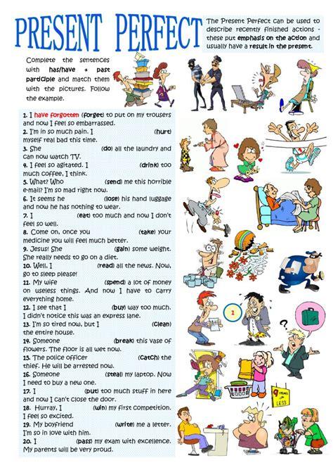 preguntas con present perfect already present perfect present results interactive worksheet