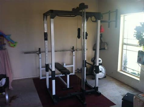 weight bench pulley weight cage system espotted